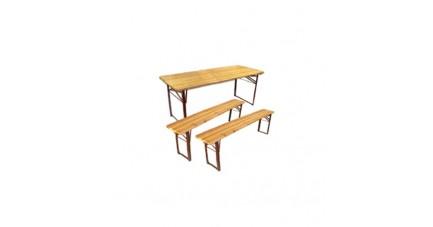 Table pliante en bois avec bancs