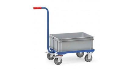 Chariot de manutention col de cygne avec bac plastique