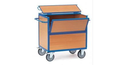 Chariot caisse avec panneaux en bois avec couvercle