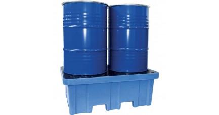 Bac de rétention en polyéthylène pur pour 2 fûts debout