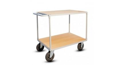 Chariot de manutention 2 plateaux bois économique pour charges lourdes
