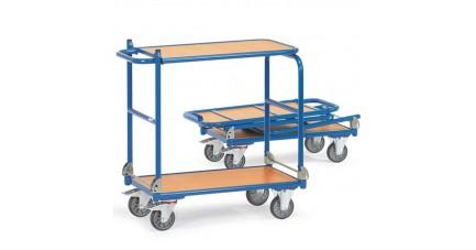 Chariot de manutention pliable en cylindres de métal
