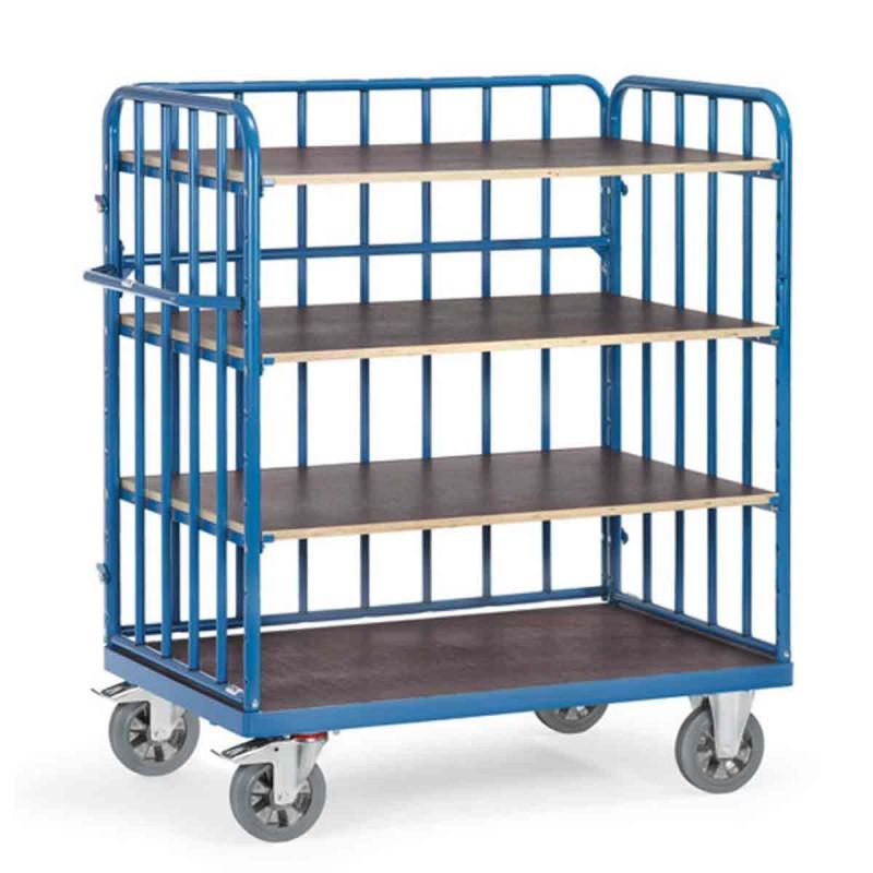 chariot de manutention ridelles avec 4 plateaux pour. Black Bedroom Furniture Sets. Home Design Ideas