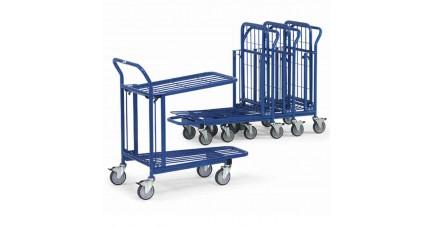 Chariot emboîtable à double plateaux en treillis